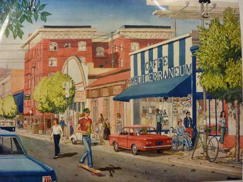 The old Berkeley Inn, a five story red brick hotel, in the background of a painting of 1980s Telegraph Avenue by Berkeley artist and writer Ed Monroe, who attended the design presentation.  (Image used by permission of Ed Monroe).