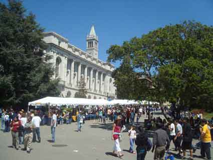 Visitors throng the campus on Cal Day in 2009.  Scores of student groups and programs fill booths in Dwinelle Plaza.