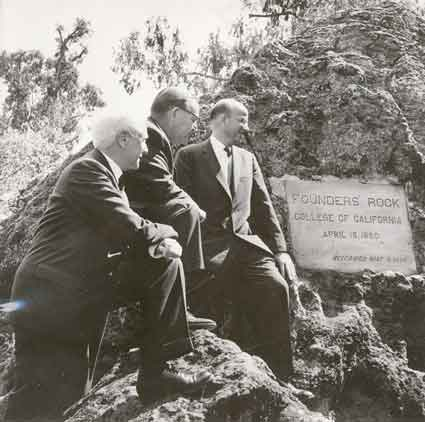 The April 22,1960 Centennial ceremony at Founders' Rock.  Left to right, Regent Donald McLaughlin, Governor Pat Brown, University President Clark Kerr.  (Bancroft Library, UARC PIC 1900.15.  Used with permission.)