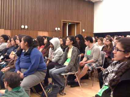 UC Berkeley students listen to public comment on the ASUC divestment bill Wednesday. The meeting started at 10:30 p.m. And went on for nine hours.