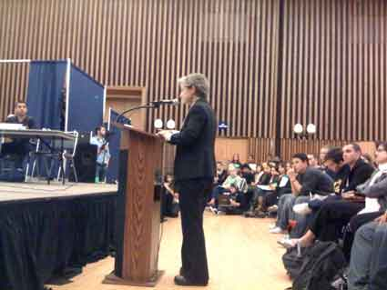 UC Berkeley Professor of Rhetoric Judith Butler gives a speech in support of the divestment bill Wednesday around 11:30 p.m.