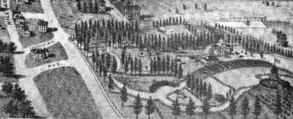 Captain Thomas' estate, La Loma Park, in an 1891 bird's-eye view
