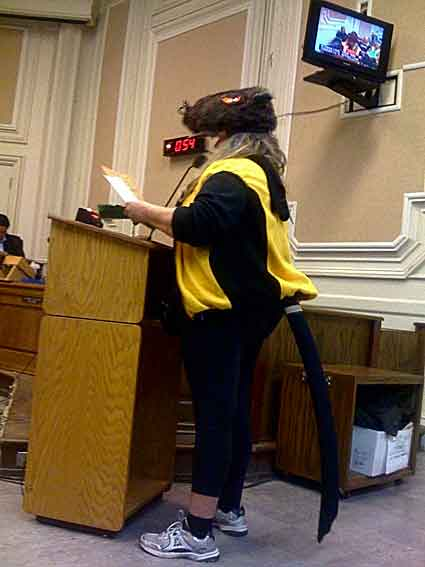 A Berkeley resident donned a rat costume at Tuesday's City Council meeting to show her displeasure with the BRT proposal.
