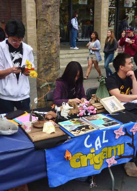 Cal Origami Club members demonstrated their skills on Sproul Plaza.  Yes, they made an origami bear.
