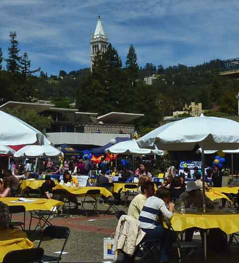 Lower Sproul Plaza blossomed with tables, food, music, and entertainment throughout the day.