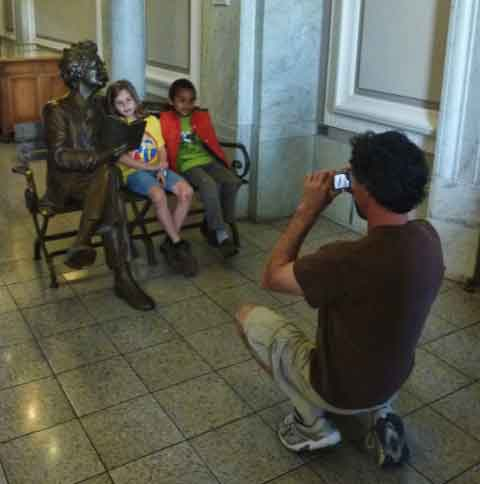 Having your picture taken with the statue of Mark Twain in Doe Library was a popular activity.