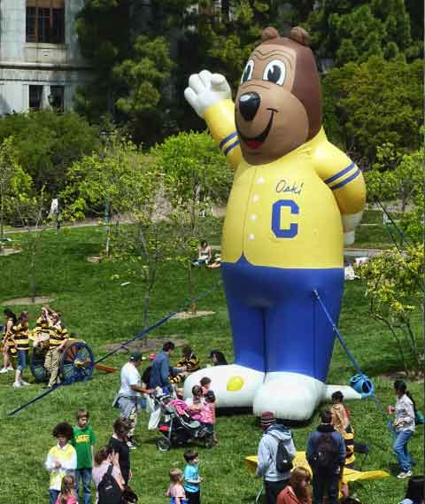 A gigantic inflated Oski presided over OskiLand and its children's games and prizes.