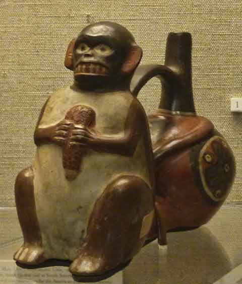 "The exhibit includes this whimsical ""double-spouted whistling jar"", circa 800 AD, depicting a monkey, acquired during a Hearst-funded expedition to Peru in 1905, and now in the Hearst Museum collections."