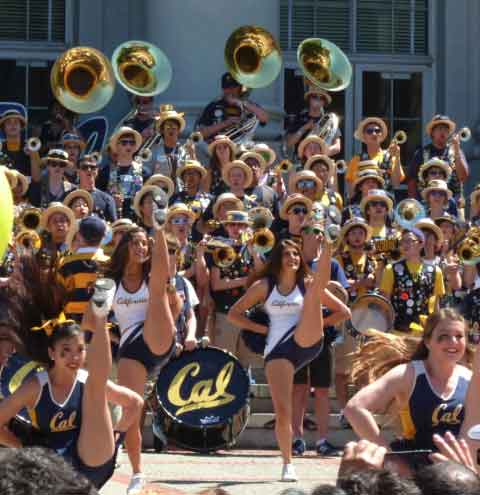 The Cal Band highlighted a mid-day rally on a packed Sproul Plaza at Cal Day on Saturday.