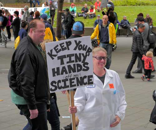 Some scientists from the UC Berkeley campus wore their lab coats.