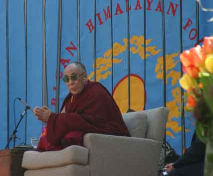 "More than 7,000 people packed the Greek Theater Saturday afternoon to watch His Holiness Tenzin Gyatso, the 14th Dalai Lama of Tibet, give a speech on ""Peace Through Compassion."""