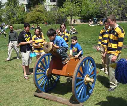 The Victory Cannon, fired when the football team scores at Memorial Stadium, was a popular attraction at Cal Day on Memorial Glade, staffed by Rally Committee members.