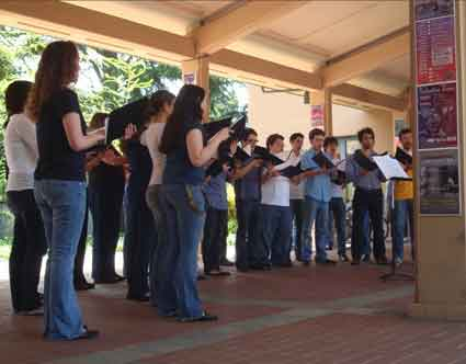 The University Chamber Chorus performed in the breezeway between Morrison Hall and Hertz Hall.