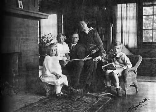 Prof. George P. Adams and his family at home on Santa Barbara