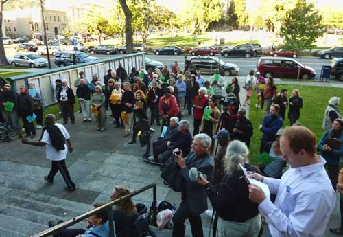 The crowd during the rally in front of the April 26 City Council meeting.
