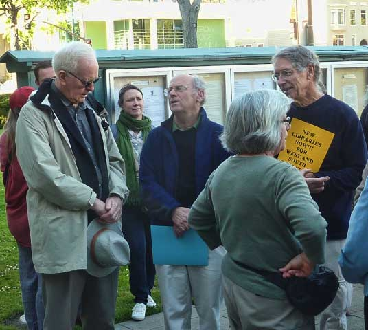 Rally attendees included, left to right, City Economic Development staffer and South Berkeley library neighbor Dave Fogerty, new Library Trustee Jim Novosel, and Chris Adams from the Friends of the Library.