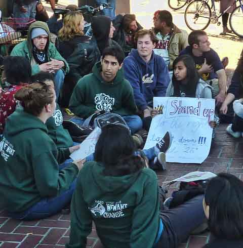 The sit-down protest attracted a variety of demonstrators.