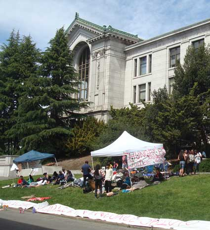 UC Berkeley students camped on a lawn near California Hall to take part in a hunger strike protesting Arizona's new anti-immigrant law.