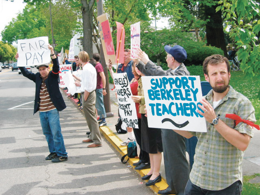 Matthew Artz: Berkeley teachers and supporters rally outside of Old City Hall..