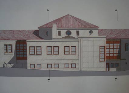 The revised design for the North Berkeley Library addition removes the overhang and angled façade elements of earlier designs.  This view, presented at the May 6 LPC meeting by the design consultants, is from Josephine Street.
