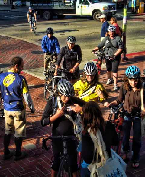 Cyclists gather at the Sproul Plaza energizer station on Bike To Work Day in 2009.