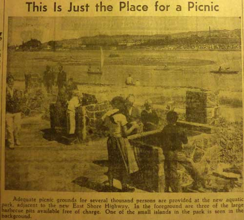 The Gazette showed picnickers using new stone fireplaces along the western shore of the new Aquatic Park lagoon in 1937. One of the bird sanctuary islands of the Park is in the center, with the original shore of Berkeley beyond.