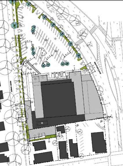 A plan of the North Shattuck Safeway site, showing current buildings in dark gray, and proposed building additions to the Safeway in light gray.