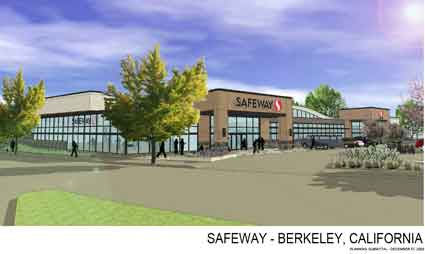 The main north-facing façade of the redesigned Safeway, from the design submittal to the City of Berkeley in late 2009.  Some of the details of the façade shown here have been altered in more recent reviews.