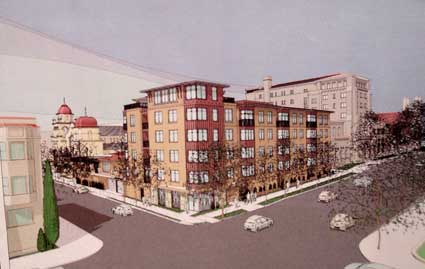 The development team presented this design for the infill building at the May 20, 2010 DRC meeting.