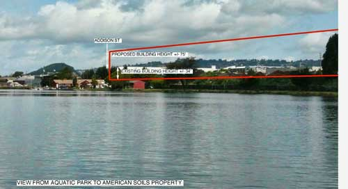 This is the view across Aquatic Park to the property which formerly housed the American Soils company, with current and proposed building heights indicated.