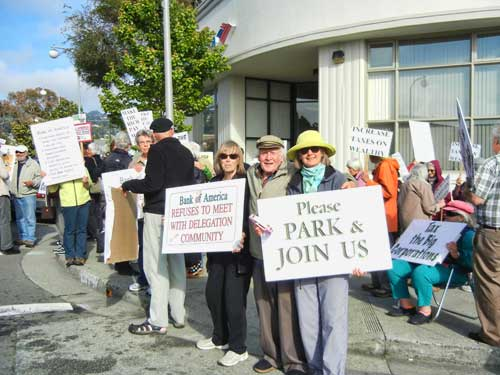Bank Of America had refused to meet with a delegation from the community--so this demonstration took place at the Solano branch on Monday.