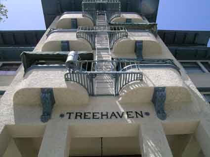 The deep balconies are a prominent feature of Treehaven Apartments.