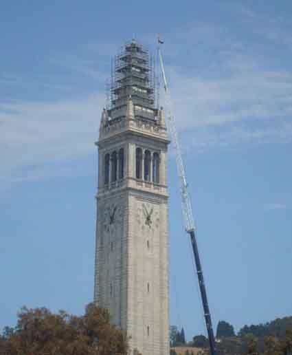 UC Berkeley's Campanile will is undergoing restoration. The work is expected to  be completed by the beginning of the fall semester.