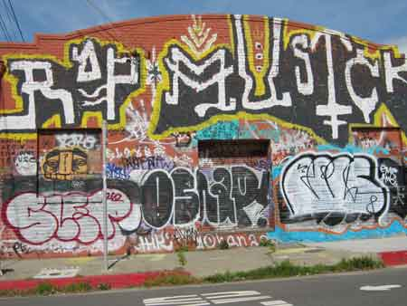 The Rap Musick mural hosts a number of well-known local taggers.