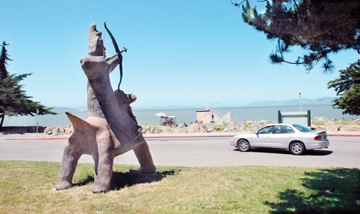 Richard Brenneman: Fred Fierstein's sculpture at the end of University Avenue in the Berkeley Marina, aims his arrow at the Berkeley Fishing Pier, one of three possible marina locations for a new commuter ferry stop..