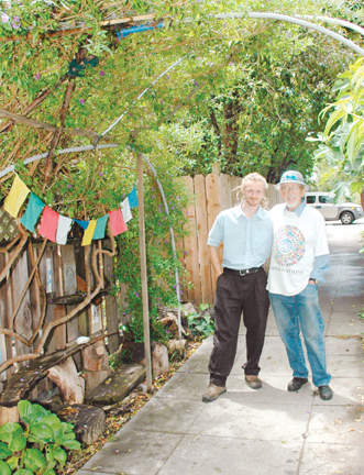 Richard Brenneman: Asa Dodsworth, left, and Bill Trampleasure gathered at the over-the-sidewalk arbor at Dodsworth's 2185 Acton St. home Thursday to discuss the structure's impending city-ordered destruction..