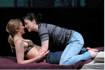 At Berkeley Rep, Heidi Schreck and Emily Donahoe (right) star in the world-premiere 