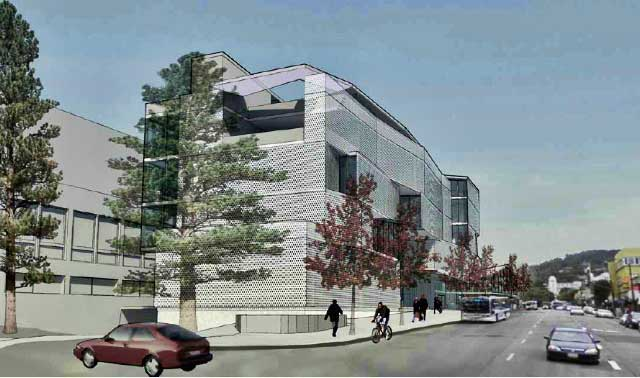 Eshleman Hall, along Bancroft Way, would be demolished and rebuilt as part of the Student Center alterations. This is a sketch of the design concept for the new building, seen looking up Bancroft Way towards Telegraph. Zellerbach Hall is at left.