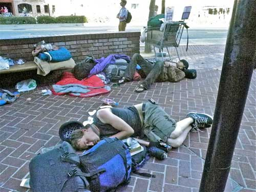 Are Berkeley Police looking the other way as sleeper-liers go public downtown on eve of big council debate on the mayor's proposed sit-lie ban?
