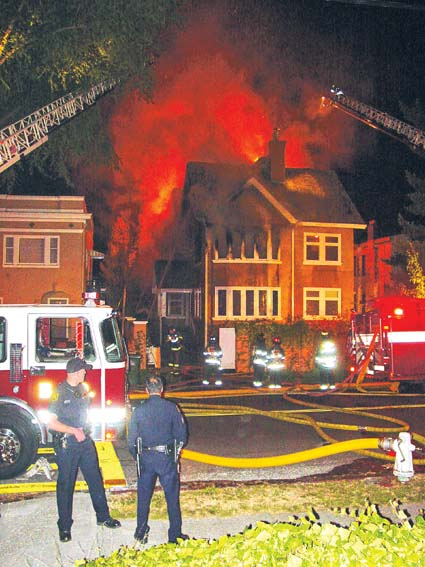 Berkeley firefighters battled two blazes Tuesday, including this million-dollar fire that ravaged an apartment building at 