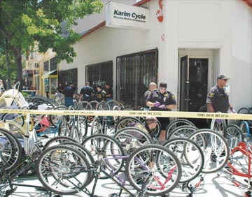 Richard Brenneman: Berkeley police examined more than 500 bikes during their raid on Karim's Cycle at 2800 Telegraph Ave..  (No charges were filed and the City of Berkeley paid some claimed damages -- See The Berkeley Daily Planet, November 11, 2005.)