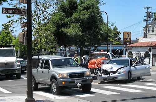 The corner of University and Bonar in Berkeley was the scene of this crash at midday Tuesday.