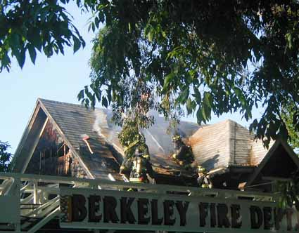 Berkeley firefighters battled their way through a maze of attic compartments as they extinguished a Saturday evening fire that did $200,000 in damage to a South Berkeley home.