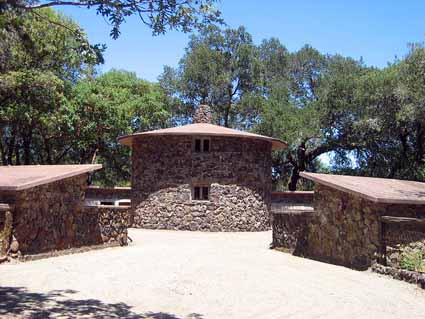 "The circular ""Pig Palace"" Jack London built for his hogs in 1915. In the center is the feed storage tower."