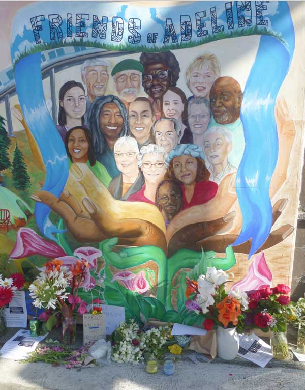 The Friends of Adeline mural has become a memorial for Margy Wilkinson, a founder of the group.