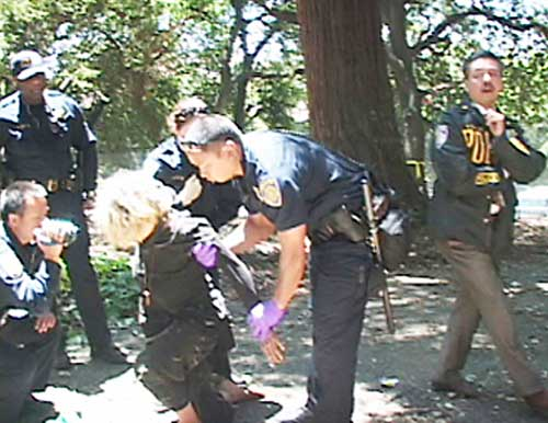 Campus Police arrested treesitter Dumpster Muffin after she came down from the branches and collapsed Wednesday afternoon, as Assistant police Chief Mitch Celaya, right, watches. Supporters say she was initially denied medical aide, an account denied by the university.