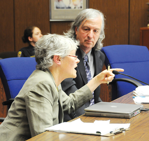 Attorney William Simpich listens as colleague Carol Strickman responds to a comment by Judge Richard Keller during Monday's hearing on their request for an order to protect tree-sitters and for the university to provide them with food and water.