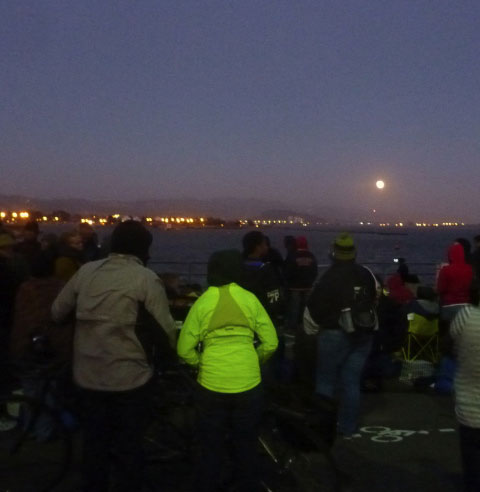 From the terrace, there was a striking view of a full moon rising over Berkeley and Albany Hill in the distance.