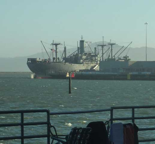 The World War II era Red Oak Victory cargo ship is part of the expansive Bay view from the Craneway.