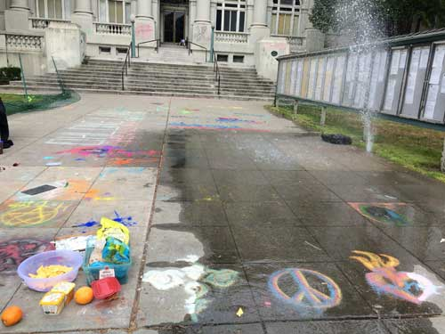 A sprinkler decided to celebrate the 4th of July by wildly expressing itself in front of City Hall around 10:00 am. There was no truth to the rumor that radical anarchist sidewalk chalk was responsible for the accidental baptism of the City Hall steps.